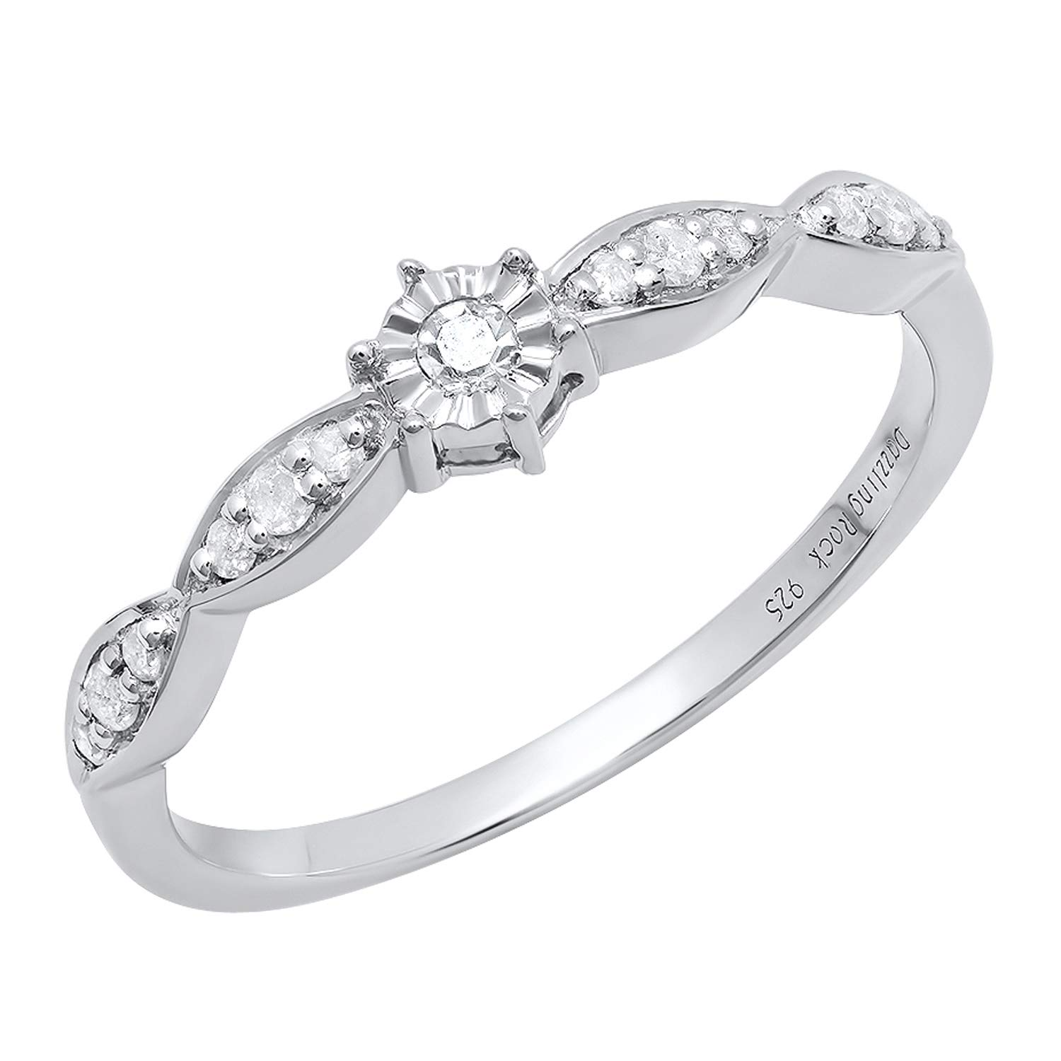 ctw Round White Diamond Bridal Engagement Ring Sterling Silver Dazzlingrock Collection 0.20 Carat