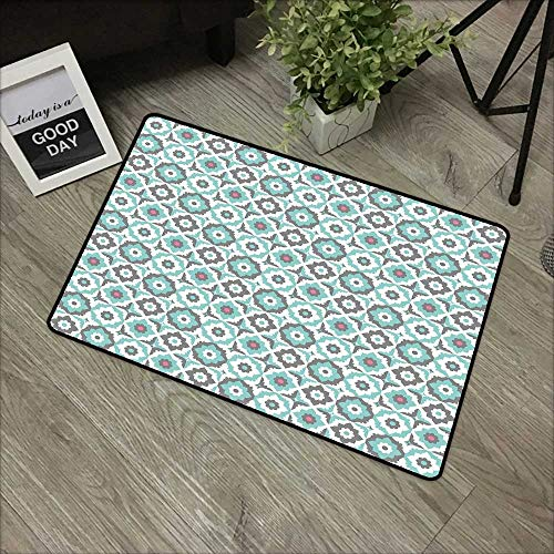 Floor mat W24 x L35 INCH Quatrefoil,Old Fashioned Style Mosaic with Simple Pastel Daisies Spanish Flowers,Turquoise Grey White Non-Slip, with Non-Slip Backing,Non-Slip Door Mat Carpet