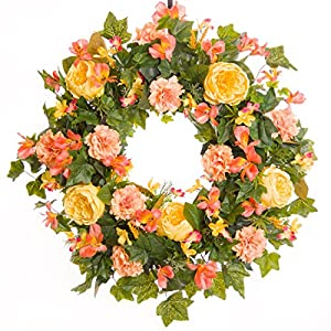 Pink Carnation & Rose Everyday Wreath (SW009) - Spring Wreath - Summer Wreath - Everyday Wreath 53