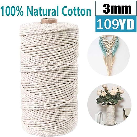 Cuerda de macramé de algodón de 3 mm para colgar macramé hecho a ...