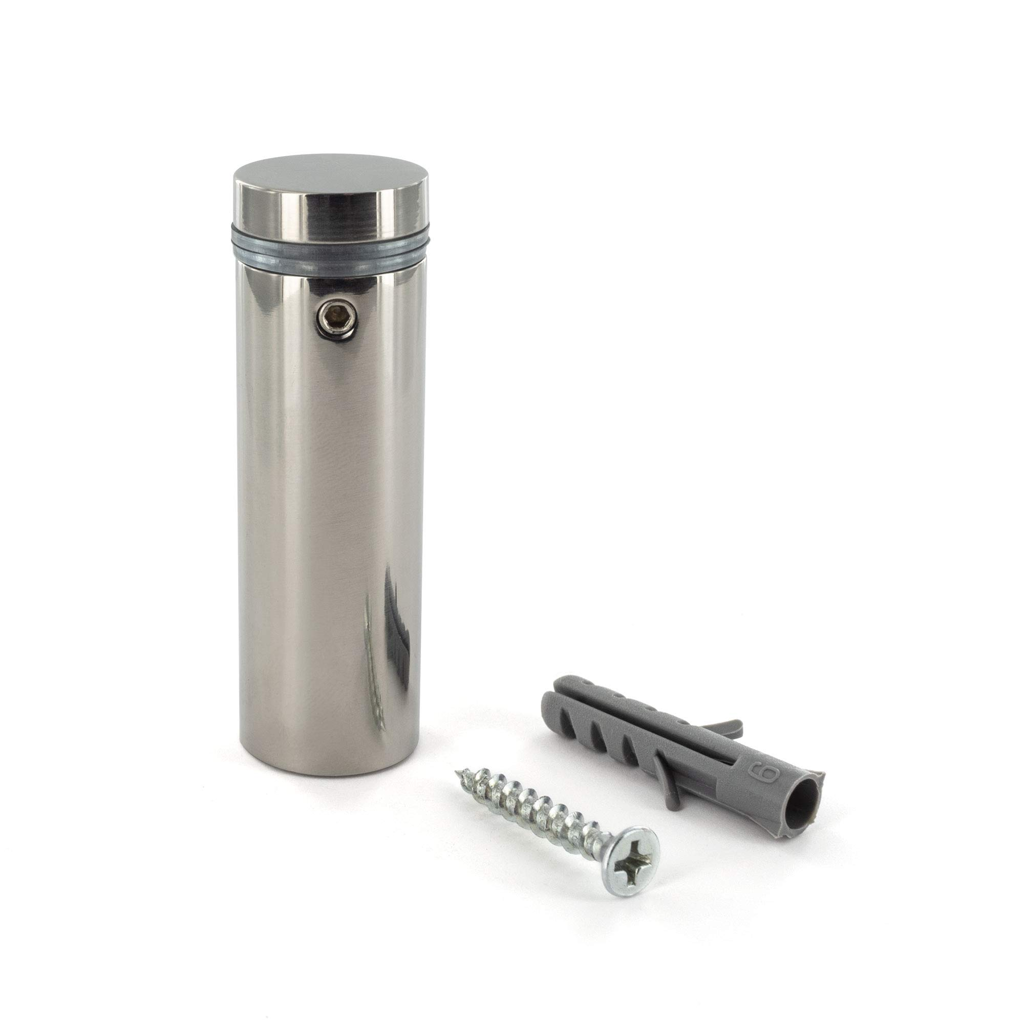 Sign Standoff 3/4'' Diameter x 2'' Barrel Length Polished Stainless Finish Eco Lock Series Tamper Proof Standoff Pack of 8 by Outwater by Outwater