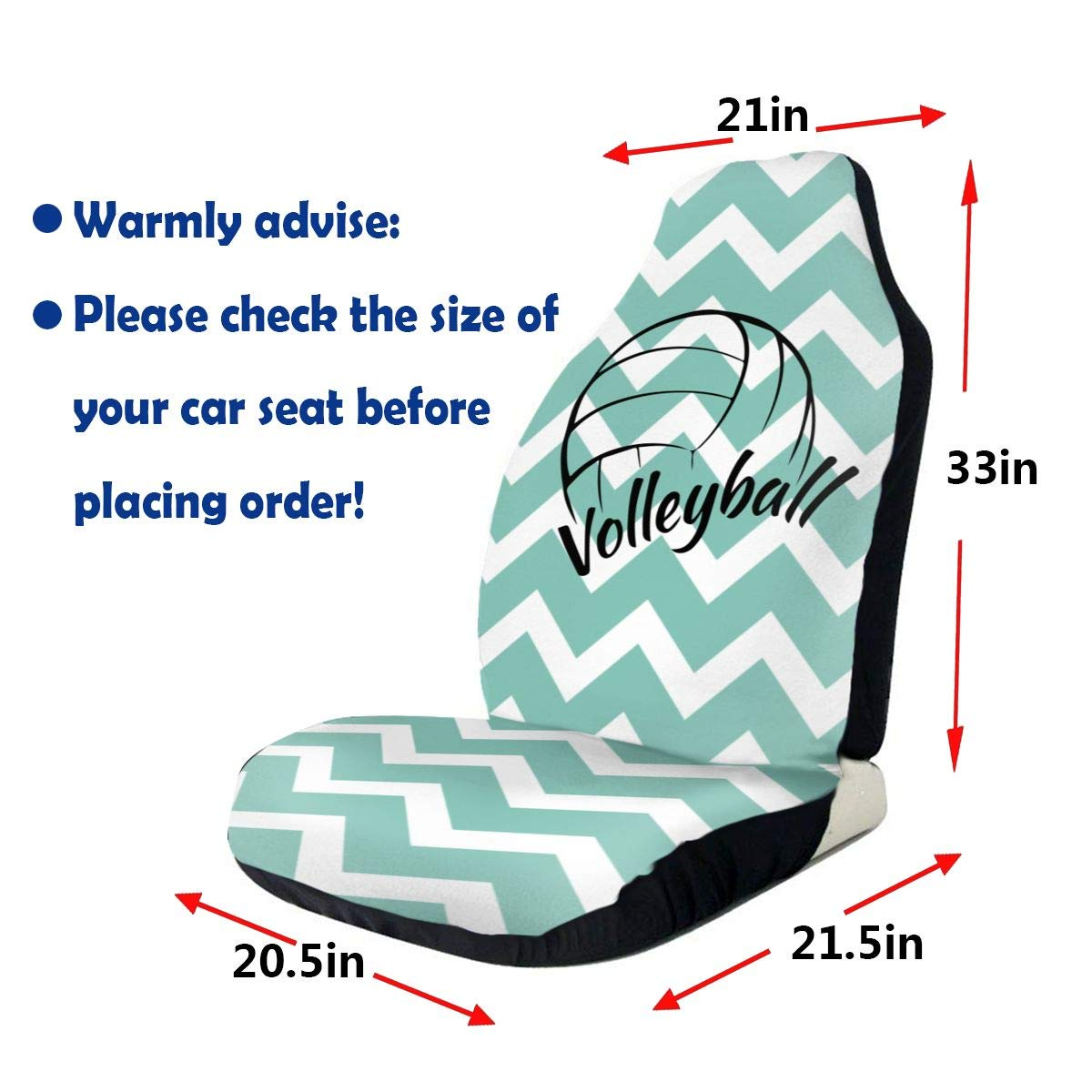 ACYD-10 Sports Fan Seat Covers Love is Volleyball Car Front Seat Covers Set of Fit Most Vehicle,Cars,Sedan,Truck,SUV,Van