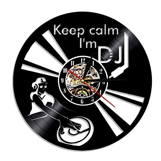 SSCLOCK Refrán Divertido Mantener la Calma Soy DJ Wall Art Reloj ...