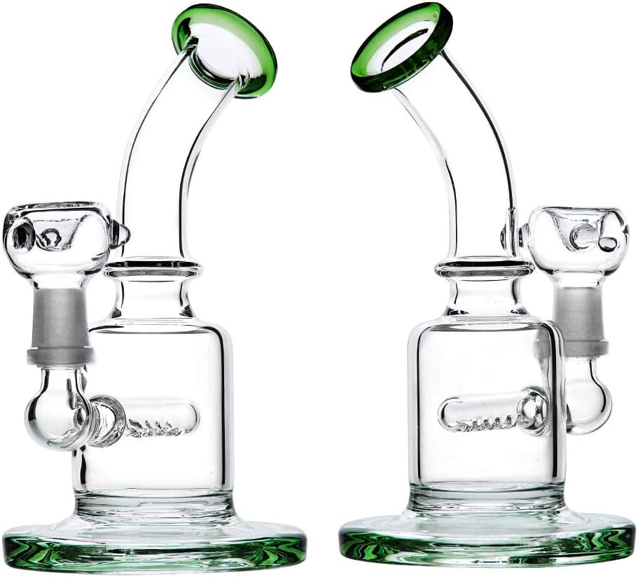 Green 7Inch Pipe Handmade Glass Design with Ice Frame Handmade Water Bottle Join 14MM