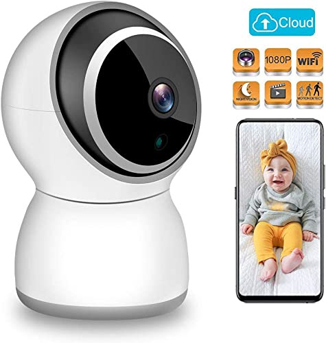 TESCAT Baby Monitor 1080P FHD Home 2.4G WiFi Security Camera Motion Detection with Night Vision 2-Way Audio Cloud Service – Baby Elder Pet Monitor Compatible with iOS Android
