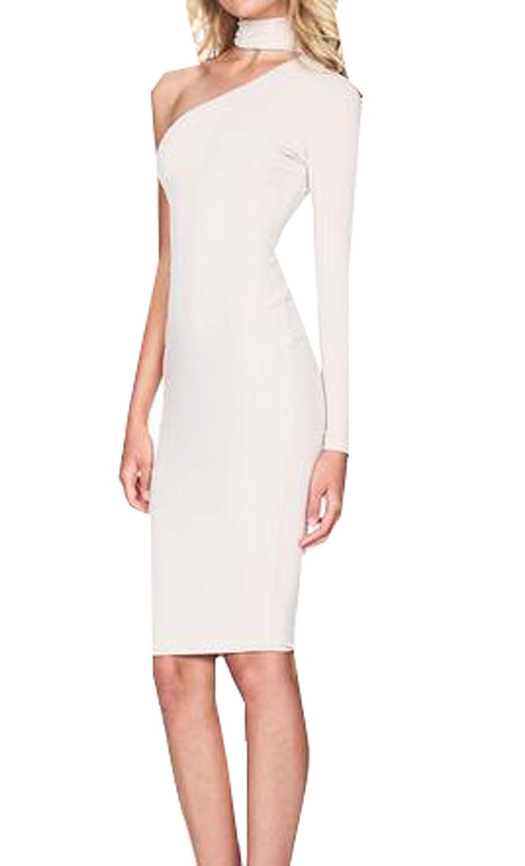 Abetteric Women's One Shoulder Sexy Slim Fit Bodycon Dress