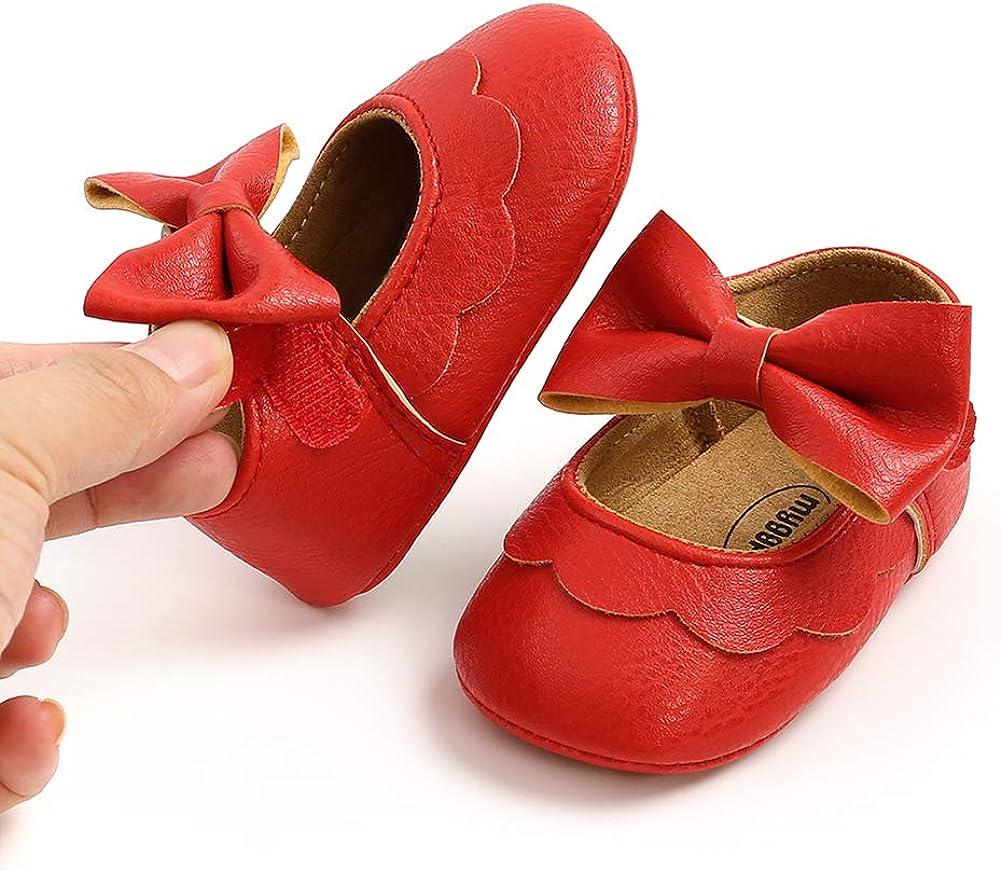 RVROVIC Baby Girls Shoes Soft Sole Mary Jane Flats Princess Dresses Shoes PU Cute Bow Prewalker