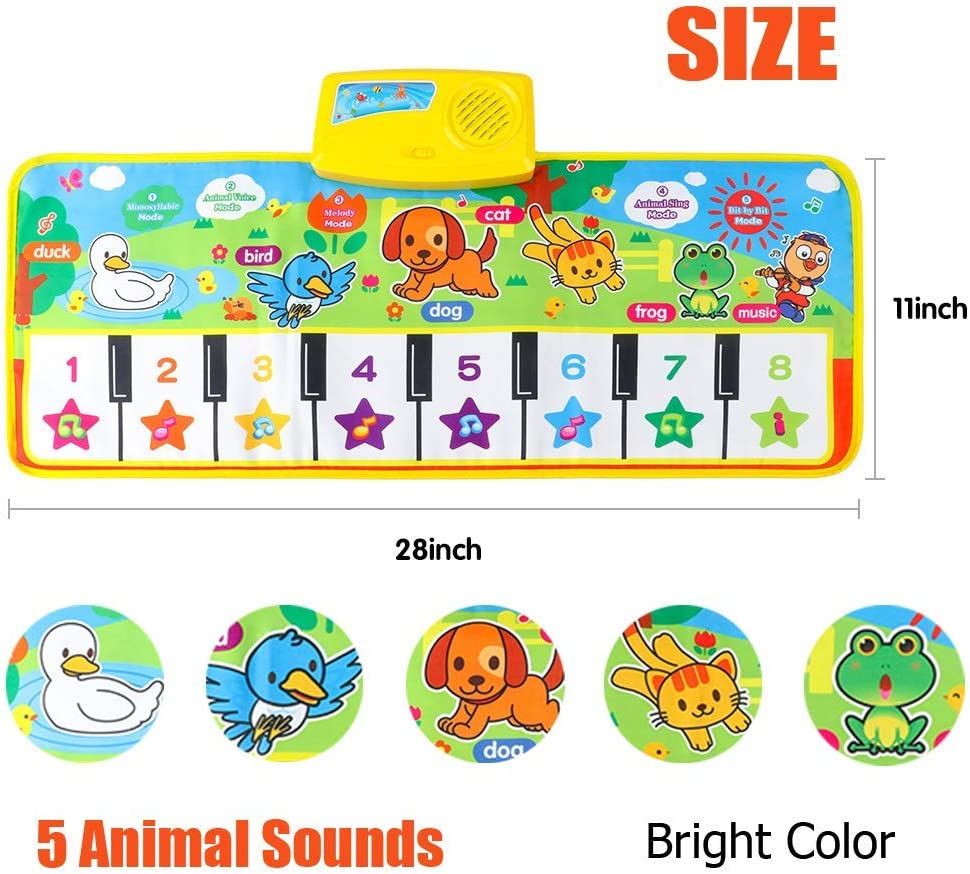 Floor Piano Mat for Kids Dance Play Mat for Baby Gifts for 2 3 4 5 6 Year Old Girls Boys Toy Music Keyboard Mat iPawde Piano Mat for Toddlers