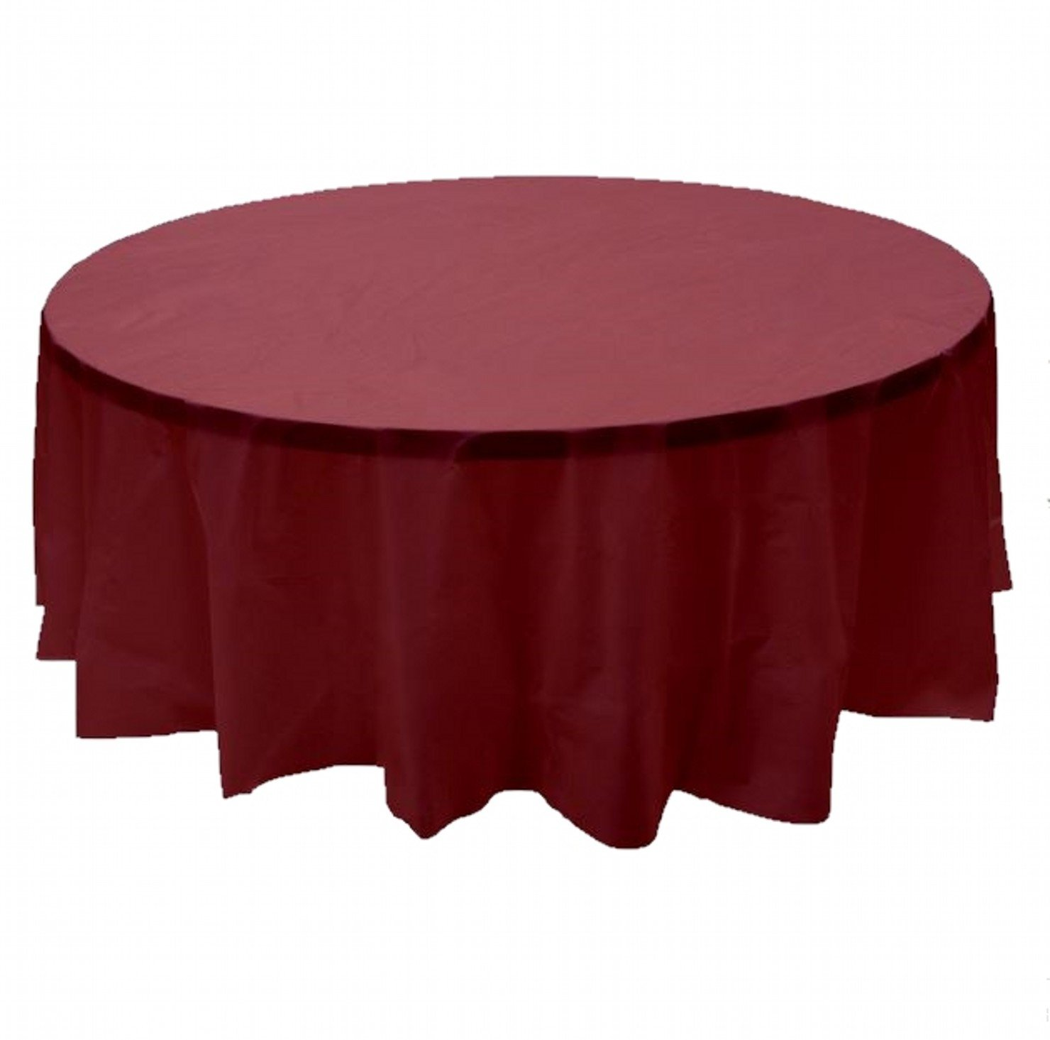 24 pcs (1 case) of Plastic Heavy Duty Premium Round tablecloths 84'' Diameter Table Cover - Burgundy