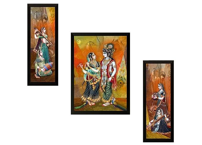SAF Set of 3 Radhe Krishna Digital Reprint Painting Paintings