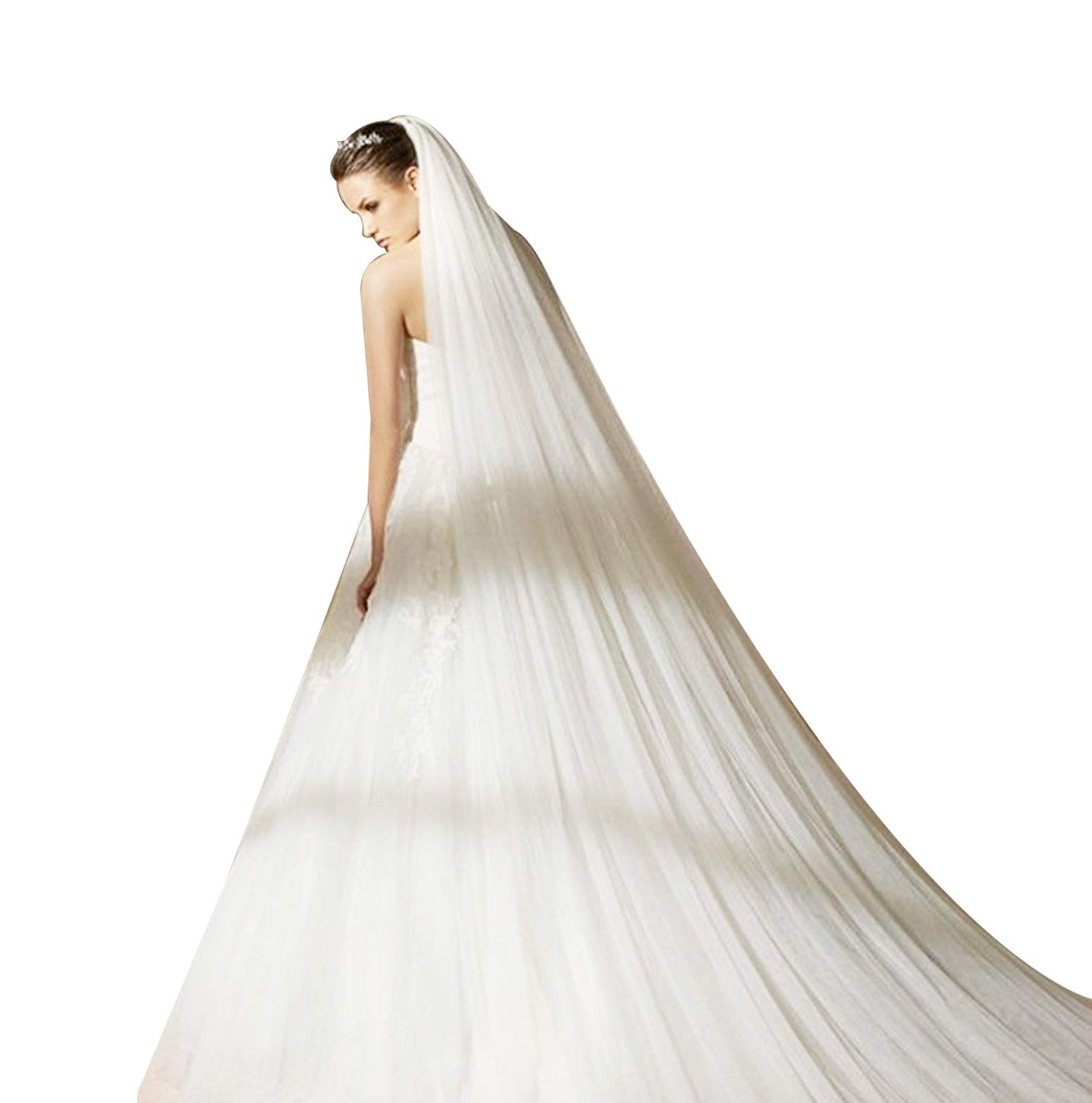 Bridal Wedding Veil 2T Trailing Long Cut Edge with mental Comb Ivory