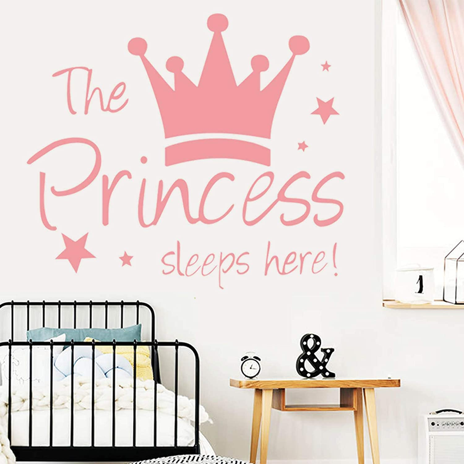 Wall Decals for Girls Room-The Princess Sleeps Here-Pink Stars Crown Wall Sticker Decor for Kids Bedroom Nursery Christmas Birthday Party Decoration Removable