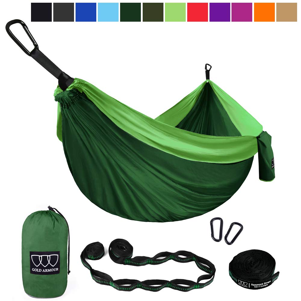 Gold Armour Camping Hammock - Extra Large Double Parachute Hammock (2 Tree Straps 16 Loops/10 ft Included) USA Brand Lightweight Portable Mens Womens Kids, Camping Accessories Gear (Green/Green) by Gold Armour