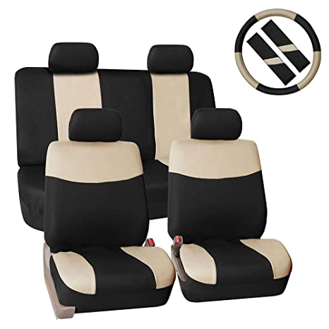 FH GROUP Stylish Cloth Full Set Car Seat Covers Combo FH2033 Steering Wheel