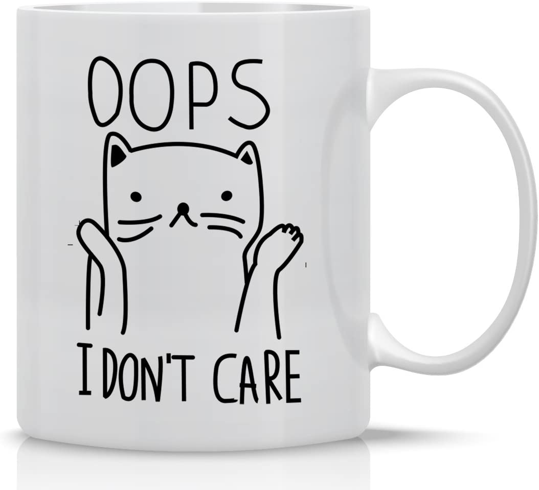 Oops I Don't Care 11oz Funny Coffee Mug, Cute Coffee Mugs For Women And Men, Cool Funny Cat Accessories Gifts For Crazy Cat Lovers