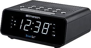 "Emerson SmartSet Alarm Clock Radio with AM/FM Radio, Dimmer, Sleep Time and .9"" White LED Display, ER100101"