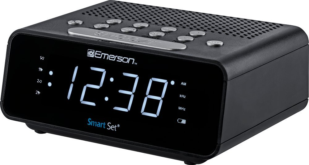 "Emerson SmartSet Alarm Clock Radio with AM/FM Radio, Dimmer, Sleep Time and .9"" White LED Display, ER100101"