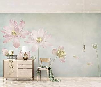 Duvarkapla Suluboya Boyama çiçekler Desenli 3 Boyutlu Duvar Kağıdı