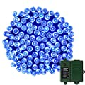 APEXPOWER 200LED Battery String Lights( Two 18650 Rechargeable Battries Contained) Powered by Battery Christmas Decorative String Lights for Outdoor Indoor Decoration Waterproof 8 Modes 72fts (blue)