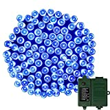 APEXPOWER 2 Packs Christmas Solar String Lights 200 LED 72ft 8 Modes Solar Powered Starry Lighting for Outdoor Patio Lawn Garden Weeding Party Xmas Tree Decoration (Blue)