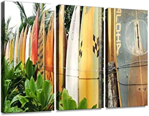 Surfboard Fence Maui with Aloha in Front Print On Canvas Wall Artwork Modern Photography Home Decor Unique Pattern Stretched and Framed 3 Piece