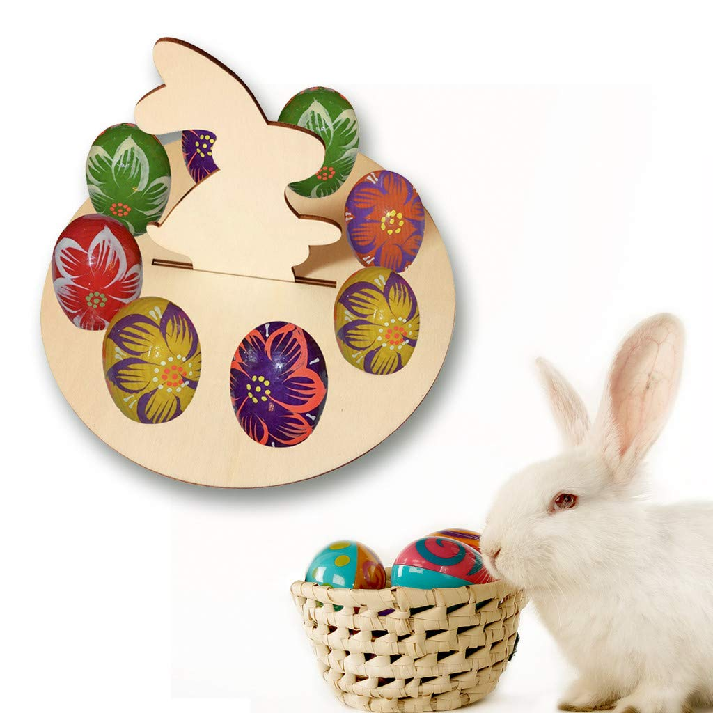 Kariwell Easter Egg Holder Tray, Wooden Creative Easter Egg Shelves for Kids Bunny Pattern Carry Hold Eggs Decor for Home Party by Kariwell (Image #2)