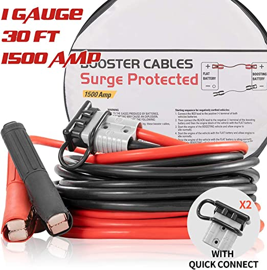 KvSrr car jumper cables Emergency battery booster cables for car with Surge protection Device 1 Gauge 30 feet