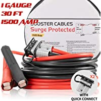 Booster Jumper Cables Heavy Duty 1 Gauge 1500 AMP 30 FT with Quick Connect Plugs Travel Bag for Truck SUV Car, 1 Year Warranty
