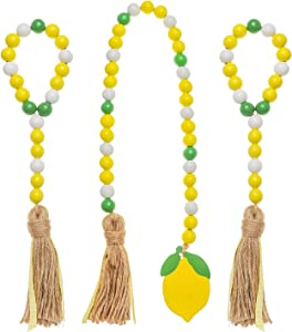 3 Pieces Wood Bead Garland with Tassel Farmhouse Rustic Beads Country Style Wall Hanging Natural Spring Summer Wooden Bead Tiered Trays Home Decor (A)