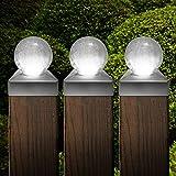 Solalite Set of 8 Solar White LED Crackle Glass Ball Garden Post Deck Cap Light Square Outdoor Fence Lights