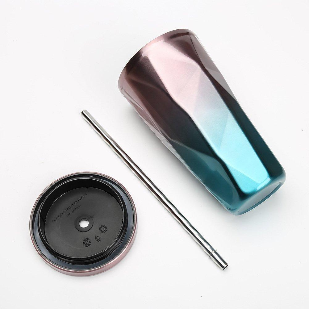 Naisidier Tazza termica da viaggio con doppia parete in acciaio INOX tazza per acqua o caff/è tazza termica con coperchio e cannuccia