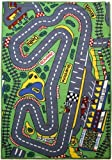 Characterland Children's Matrix Rug - 'Formula 1 Racetrack' Bedroom Road Rug - 080x120cms - Machine Washable