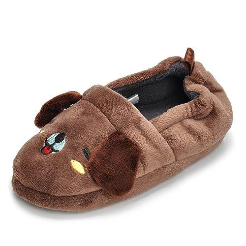 LA PLAGE Kids Winter Autum Short Nap Lining Non-Slip Soles Warm Comfort Indoor Outdoor Slippers