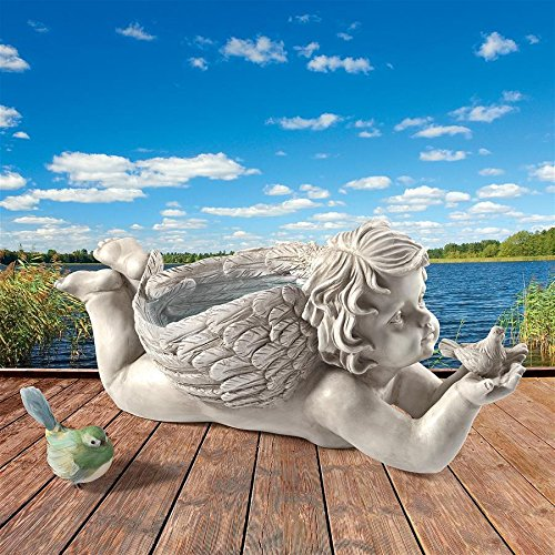 Design Toscano LY88309 God's Messenger Cherub with Bird Angel Outdoor Statue, One Size, Off White