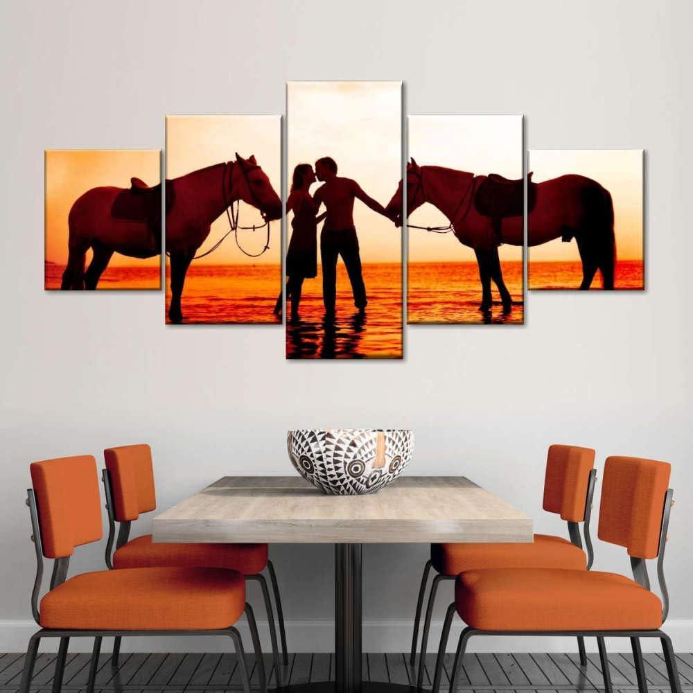 Decoracion Salon Modernos 5 Piezas Lienzo Grandes murales Pared hogar Pasillo Decor Arte Pared Cuadro Parejas de caballos románticos Puesta de sol junto almar Fotos Impresión Carteles Innovador Regalo