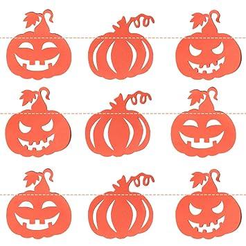 Amazon.com: Halloween Home Wall Decor Paper Pumpkin Bunting Banners ...