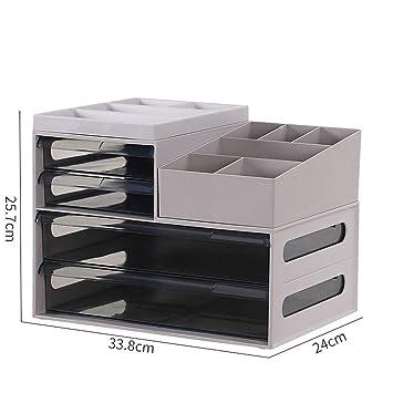 BOXSBAI Gabinete de Datos Caja de Almacenamiento de Escritorio Oficina de plástico Gabinete de Almacenamiento Oficina Archivo de Productos japoneses Caja de Almacenamiento de 4 Capas (Color : Gray): Amazon.es: Electrónica