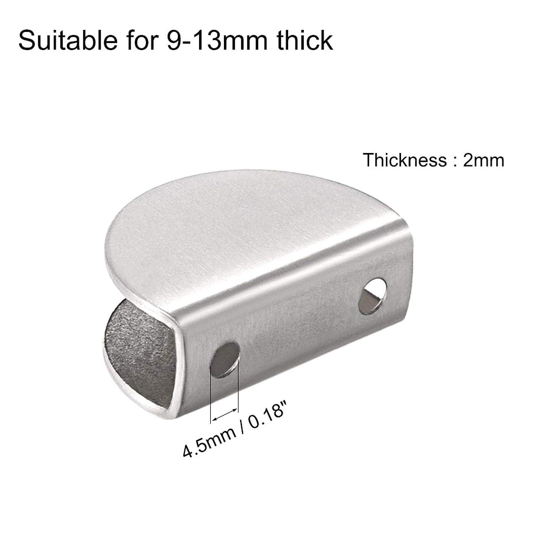 ZXYAN Soportes de Estante de Vidrio de 2 Piezas para Soporte de Clip de Abrazadera de Vidrio de Acero Inoxidable Ajustable de Espesor de 5-10 mm Medio Redondo
