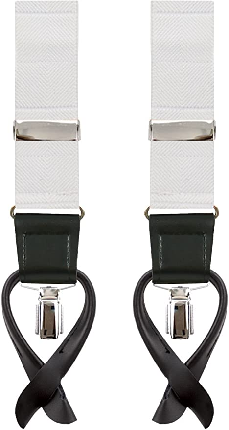 1920s Fashion for Men Dobell Mens White Braces 2-in-1 Y-Shape Back - 35mm £9.99 AT vintagedancer.com