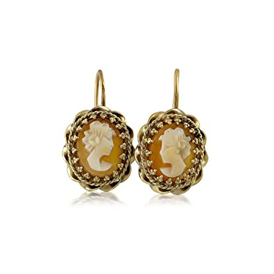 f3b689dd6 Amazon.com: Vintage Style 14K White Gold Cameo Earrings: Jewelry
