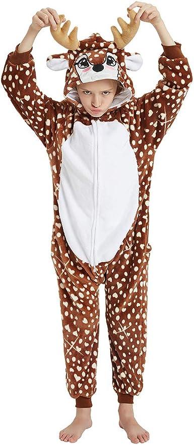 ANBOTA Kids Deer Costume Onesie for Halloween Boys Girls Reindeer Party Cosplay Fleece One Piece Pajama Zipper Closure