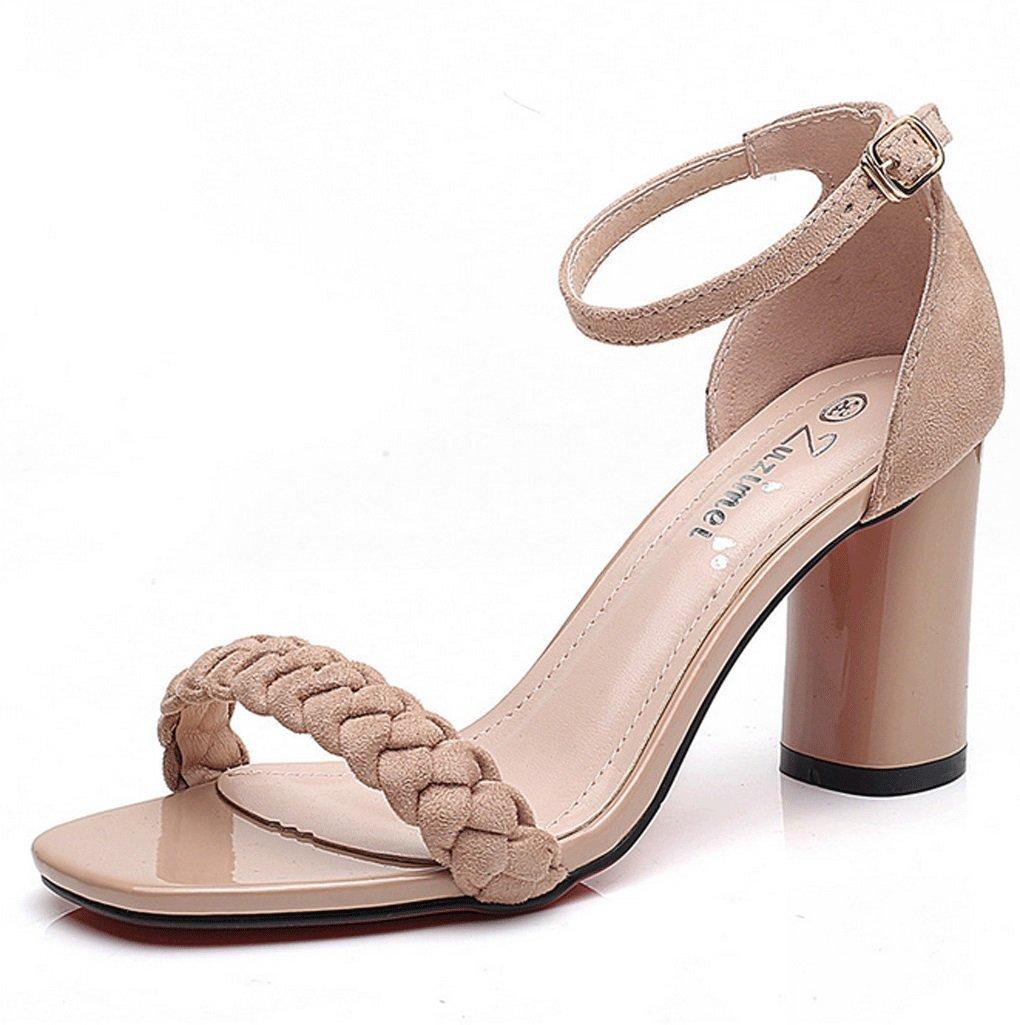 Ssandals, Personality Fashion Square Head Sandalias de Tacón Grueso Summer Open Toe Zapatos de Tacón Alto 34 EU|Albaricoque