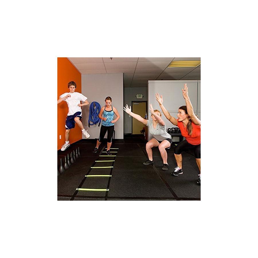 REEHUT Agility Ladder w/Free User E Book + Carry Bag Speed Training Equipment for High Intensity Footwork (8 Rungs 12 Rungs 20 Rungs)