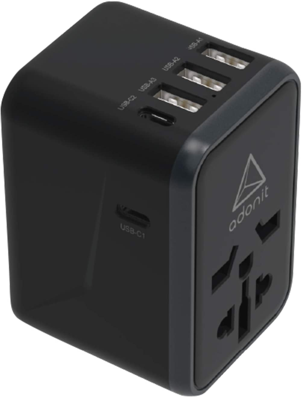 Adonit Universal Adapter PD-3A2C, MacBook Pro Charger Wall Charger AC Plug with 61W Power Adaptor. (EU UK USA AU Plug) Type C PD Wall Charger (3USB+2USB-C) for MacBook/Air, Dell XPS, iPad Pro, iPhone