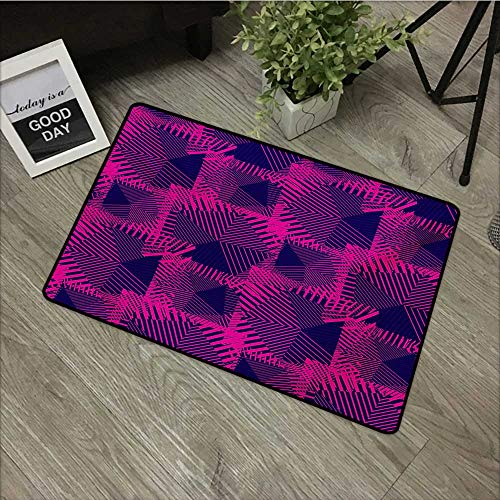 - Bathroom Door mat W19 x L31 INCH Magenta,Trippy Zip Style Mix Pattern with Dark Color Effects and Diagonal Linked Lines,Fuchsia Purple Non-Slip, with Non-Slip Backing,Non-Slip Door Mat Carpet