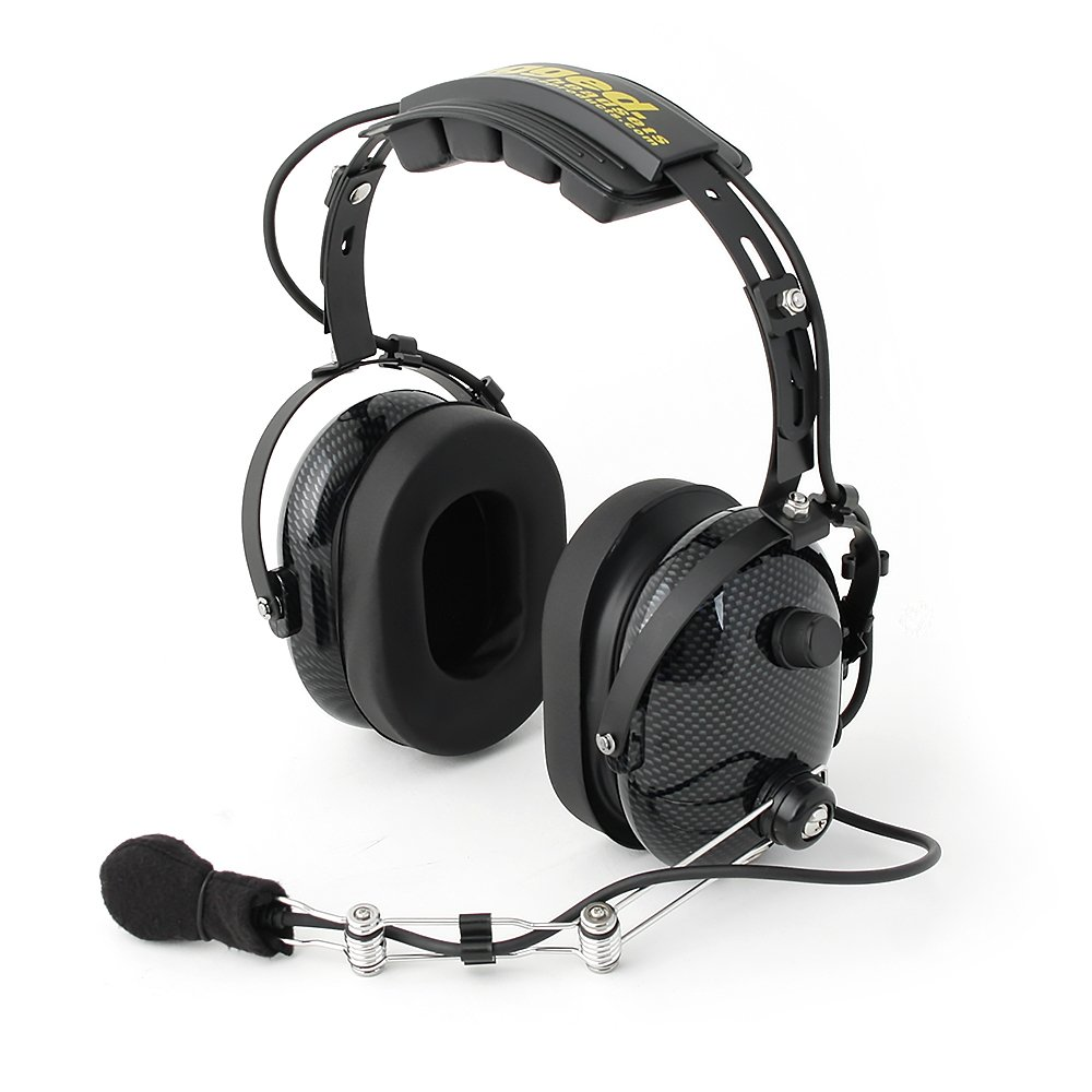 Rugged Radios H22-CF Carbon Fiber Over The Head Two-Way Radio Headset with Dynamic Noise Cancelling Microphone, Push to Talk, and 3.5mm Input Jack for Music & MP3 Players