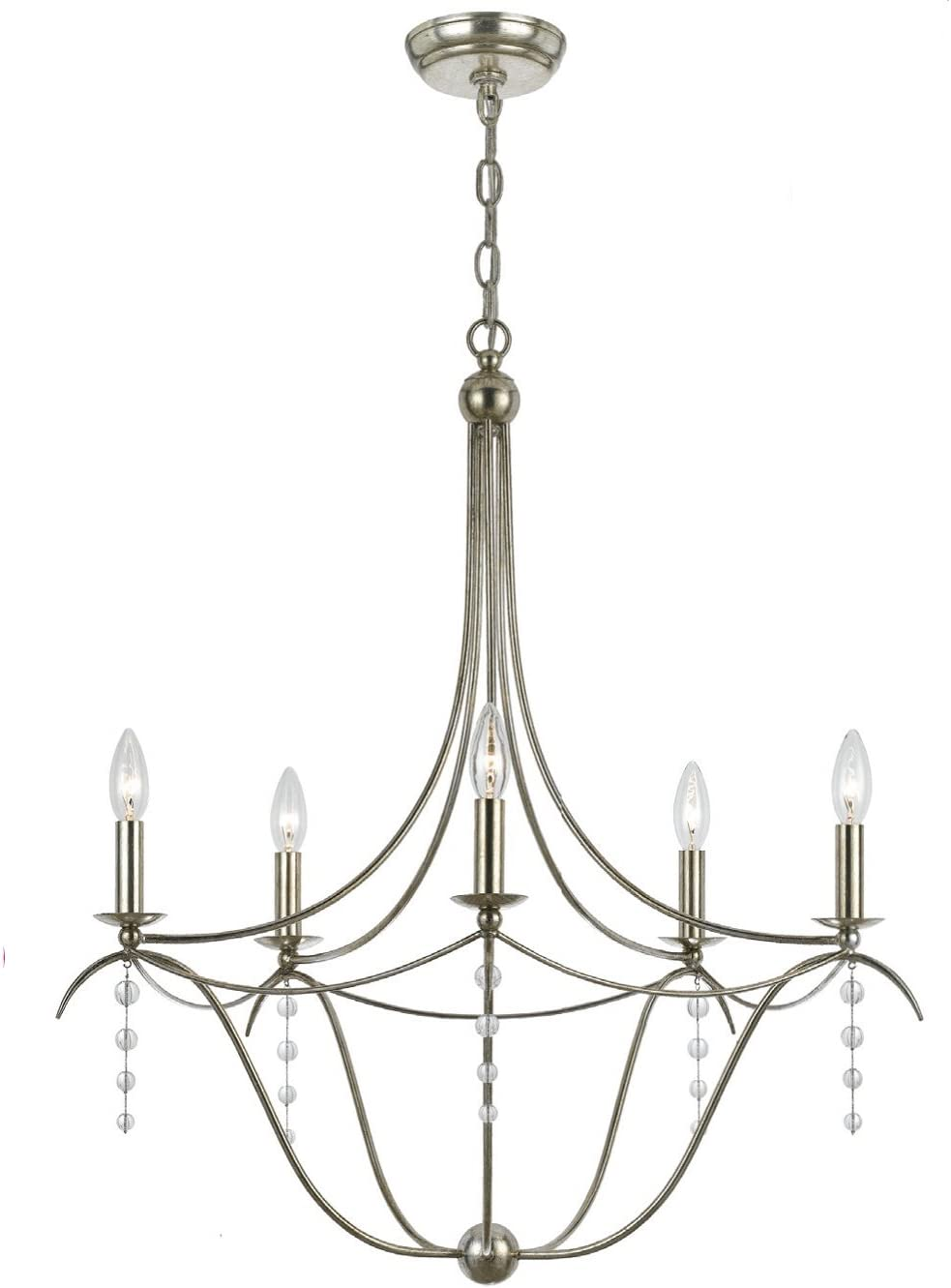 Crystorama 435-SA Traditional Five Light Chandelier from Metro collection in Pwt, Nckl, B S, Slvr.finish,