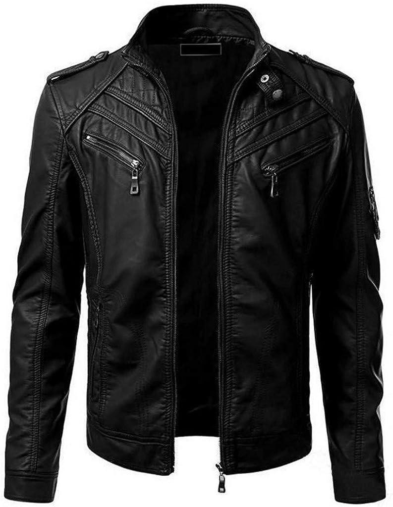 Sallydream- Chaqueta Hombre Invierno Largo Cuero Rebajas Moto Abrigo Cazadoras Elegante Moda Casual Outwear