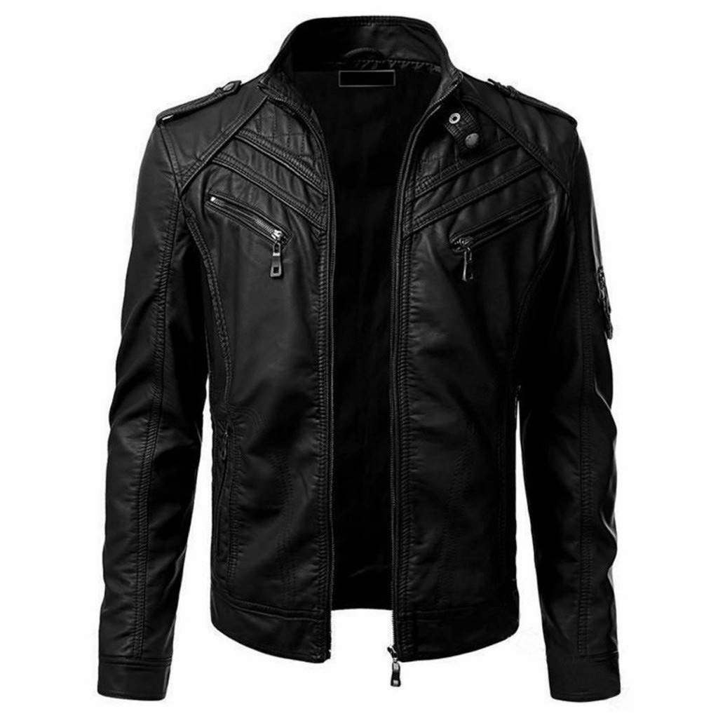 Men's Long Sleeve Leather Jacket, Males Zipper Pockets Biker Motorcycle Imitation Plus Size Coat Tops by cobcob men's Coat