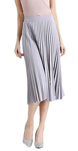 Mujer Falda Plisada Elegante Verano Elasticos Chiffon Falda Mode ...